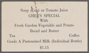 Daily menu held by New York Central System at The Mercury (Railroad)