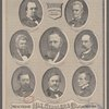 President Hayes and his cabinet. George W. McCrary, War. R.W. Thompson. Navy. David M. Key. Postmaster General. Rutherford B. Hayes. Charles E. Devens. Attorney General. Carl Schurz. Interior. John Sherman. Treasury. William M. Evarts. Sec. of State. Presented by Max Stadler & Co. Clothiers. 565 & 567 Broadway, N.Y.