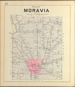Cayuga County, Left Page [Map of town of Moravia]