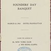 Founders' Day Banquet, The New York Club of PHI SIGMA KAPPA