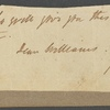 Autograph letter (fragment) signed to John Williams, 14 April 1814