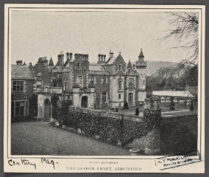 The garden front, Abbotsford. From a photograph.