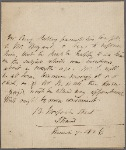 Autograph note, third person, to William Bryant, 7 March 1816