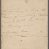 Autograph note, third person, probably to Anna Maria Barrow, [1813?]