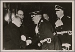 Czech state president Dr. Hacha travels to Berlin to the Fuhrer to place the fate of the Czechs in his hands. President Dr. Hacha on arrival in Berlin, where he is greeted by Dr. Meissner.