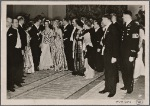 [The solidarity between the Fuhrer and German artists showed itself in the reception held in the new Reichs Chancellery.  The Fuhrer shows his guests the great reception hall.]