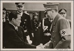 [The warm friendship between Japan and Germany finds expression in a Japanese art exhibition in Berlin.  The Fuhrer greets Japanese Ambassador Oshima.]