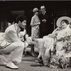 """John Tillinger, Carole Shelley, Michael McGuire, and Shirley Booth in the 1970 revival of  Noël Coward's """"Hay Fever"""" at the Helen Hayes Theatre"""