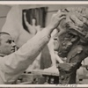 Professor Arno Breker, one of the most famous sculptors in Greater Germany, celebrated his 40th birthday.  He is working on a series of great works, of which one is a bust of Wagner.]