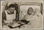 Because the wounded one's hand cannot do so, the nurse from the German Red Cross writes a letter to his parents and wife.  In a thousand small ways the homeland shows its thanks to its soldiers.
