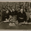 In a ceremony in Vienna, Hungary joined the Tripartite Pact between Germany, Italy and Japan.  Our picture shows the approval of the documents; signing (from left), Reichs foreign minister von Ribbentrop, Italian foreign minister Count Ciano, Hungarian foreign minister Count Csaky.]