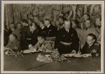 In a ceremony in Vienna, Hungary joined the Tripartite Pact between Germany, Italy and Japan.  Our picture shows the approval of the documents; signing (from left), Reichs foreign minister von Ribbentrop, Italian foreign minister Count Ciano, Hungarian foreign minister Count Csaky.