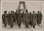 [The Fuhrer inspects Paris, which has quickly returned to normal life under German occupation troops.  At the Fuhrer's side are professors Giesler, Speer and Breker.  In the background is the Eiffel Tower.]