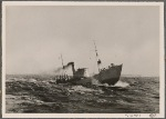 [The duties of the German patrol boats are difficult, as they tirelessly battle high seas and winter storms on their far-flung posts to keep the German sea lanes safe.]
