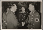 On April 20th the Fuhrer celebrated his war-birthday, which the people took part in with merry hearts in spite of the situation.  The Führer paid his respects to the Commander-in-Chief of the armed forces and the Reichsleiters, among whom was Chief of Staff Lutze, who brought the good wishes of the S.A.