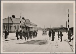 [The Norwegians watched with amazement how German troops occupied and secured the country's strategic places within a few hours. German soldiers marching through Trondheim.]