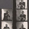 [Noël Coward, portrait photographs in chair with cigarette, contact sheet]