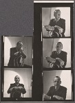 Noël Coward, portrait photographs in chair with cigarette, contact sheet