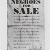 "Negroes for Sale."" Broadside advertising sale of shipment of slaves"