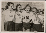Four women athletes of the Hamburg Athletics Club who won the 4 x 100 meter relay in the war competition of German Sports, Olympic Stadium, Berlin.