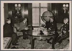 [The Fuhrer receives the cultural ambassador of friendly Japan, Marquis Inouye.]