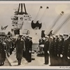 [A great fleet review was held in Naples for Prince Regent Paul of Yugoslavia.  The King of Italy and Emperor of Ethiopia and Prince Regent Paul reviewed the crew of a warship.]