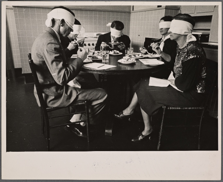 Testing meats at the Department of Agriculture. Beltsville, Maryland. (1935 Aug.)