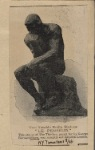 """Two notable Rodin Statues """"Le penseur."""" This statue of The thinker, posed for by George Bernard Shaw, was recently exhibited in London."""
