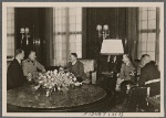 Among the foreign guests in the Reich capital was the Italian Minister of State Farinacci, who was received by the Fuhrer.  To the right of the Fuhrer are Reich Press Chief Dr. Dietrich and Minister of State Dr. Meissner.