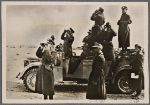 Rommel and German officers direct Italian artillery against the British in Libya