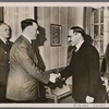 With the Reich Foreign Minister von Ribbentrop in attendance, the Fuhrer received the Iraqi Prime Minister Rashid Ali al-Gaylani.  The interview took place in the spirit of friendship that the German people feel toward the Arab peoples.]
