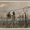 [A quiet time at the Front, but the watch in the West does not flag.  Heavy frost hangs on the barbed wire, behind which are German observation posts in every direction with a commanding view into enemy territory.]