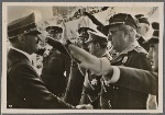 [The Fuhrer greets Spanish Nationalist generals, who are guests of honor in the Condor Legion parade in Berlin.]