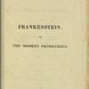 Frankenstein; or, The Modern Prometheus, Vol. I