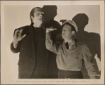 Promotional photograph of Glenn Strange and Bud Abbott from Abbott and Costello Meet Frankenstein