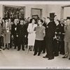 """In the House of German Art in Munich the """"Great German Art Exhibition 1942"""" was opened by Reich Minister Dr. Goebbels.  Dr. Goebbels during the first tour of the exhibition; to his left, Frau Prof. Troost; far left, Prime Minister Siebert.]"""