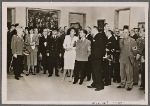 """In the House of German Art in Munich the """"Great German Art Exhibition 1942"""" was opened by Reich Minister Dr. Goebbels.  Dr. Goebbels during the first tour of the exhibition; to his left, Frau Prof. Troost; far left, Prime Minister Siebert."""