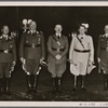 At a special reception, the Führer presented the Air Force's field marshals with their batons. Our picture shows (from left): Field Marshal Milch, Field Marshal Sperrle, the Führer, Reichs Marshal Goering and Field Marshal Kesselring.]