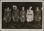 At a special reception, the Führer presented the Air Force's field marshals with their batons. Our picture shows (from left): Field Marshal Milch, Field Marshal Sperrle, the Führer, Reichs Marshal Goering and Field Marshal Kesselring.
