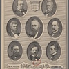 President Hayes and his cabinet. [Center and then clockwise from upper right:] Rutherford B. Hayes. R.W. Thompson. Navy. Charles E. Devens. Attorney General. William M. Evarts. Sec. of State. John Sherman. Treasury. Carl Schurz. Interior. David M. Key. Postmaster General. George W. McCrary. War