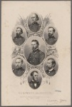 The union generals. [Center and then clockwise from top:] U.S. Grant Lieut. Genl. Stephen A. Hurlbut M.G. James B. McPherson M.G. Lew Wallace M.G. W.T. Sherman M.G. Don Carlos Buell M.G. John A. McClernand M.G.