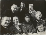 Edward Albee and the cast of All Over. Front Row (left to right): George Voskovec, Colleen Dewhurst, Edward Albee, Jessica Tandy, and Madeline Sherwood. Top row (left to right): Neil Fitzgerald, James Ray, and Betty Field