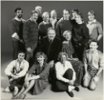 Cast and Crew of James Duff's Home Front. Standing (left to right): John Falabella (costume design), unidentified person, Don Walters (production stage manager), unidentified person, Michael Attenborough (director), Richard Barr, James Duff, Hugh O'Connor, Chris Fields (Jeremy), and Jeff Knepper. Center: Carroll O'Connor (Bob), Frances Sternhagen (Maurine). Seated on Floor (left to right): Peter Cromarty, Shirley Herz (press representative), Linda Cook (Karen), and Clark Bason