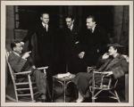 """Noël Coward (author), John C. Wilson (producer), Osgood Perkins, Alfred Lunt, and Lynn Fontanne backstage prior to the opening of the original Broadway production of Noël Coward's """"Point Valaine."""""""