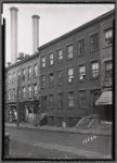 Brick tenements & storefronts; Sanitary Barber Shop: 39-45 Hudson Av-Plymouth-John, Brooklyn