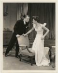 Elliott Nugent and Katharine Hepburn with chair in the stage production Without Love.