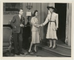 Elliott Nugent, Audrey Christie, and Katharine Hepburn with chair in the stage production Without Love