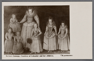 Barbara Gamage, Countess of Leicester and her children. (By permission.)