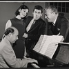 Milton Schafer, Lesley Ann Warren, Elliott Gould and unidentified in rehearsal for the stage production Drat the Cat!