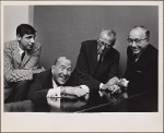 Joe Layton, Noël Coward, book writer Harry Kurnitz, and producer Herman Levin in rehearsal for the stage production The Girl Who Came to Supper